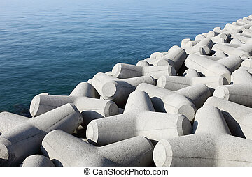 Breakwater with concrete blocks for protection of coast
