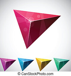 Triangular vibrant pyramid. - Color variation of triangular...