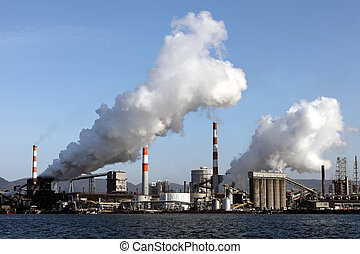 Industrial plant with smoke stacks, Industrial area