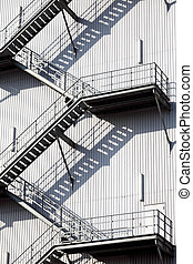 steel stairs - fire escape steel stairs background texture
