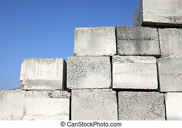 concrete blocks - stack of concrete blocks, construction...