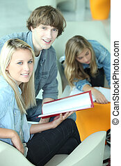 Students in a common room discussing an assignment