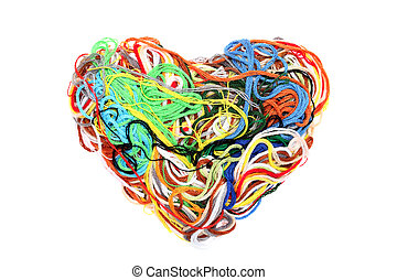 entangled threads - Entangled threads and heart-shape...