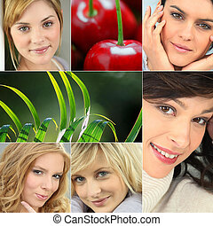 A collage of healthy-looking young women