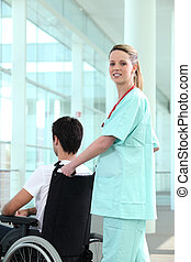 Nurse transporting man