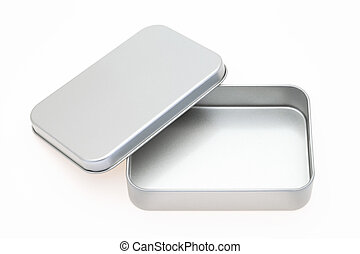 metal box - empty metal box on a white background