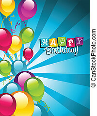 Happy Birthday Greeting Card - Colorful birthday card with...