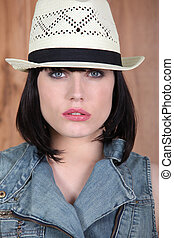Woman wearing a Panama hat