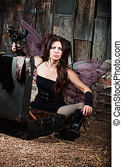 Frustrated Fairy Holds Black Roses - Frustrated Caucasian...