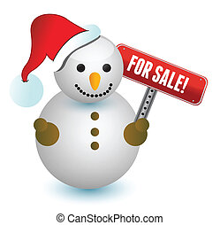 snowman with a for sale sign