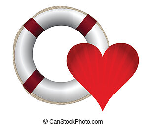 heart and lifesaver sos illustration design on white