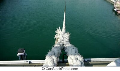 Thick cable tie yacht at Pier of QingDao city Olympic...