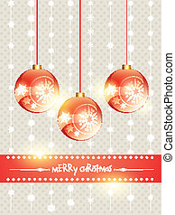 shiny christmas ball hanging on background