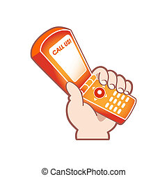 Call Us - Cartoon hand with mobile phone as support service...