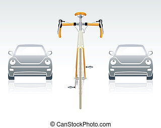 """Bicycle front view - Bicycle between gray cars 