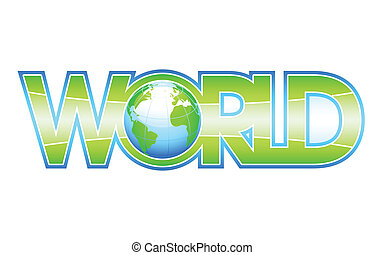 Our green WORLD - Glossy WORLD letters with globe inside