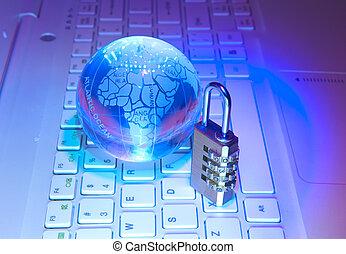 fechadura, rede, Cabo, computador, teclado, fundo