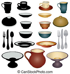 Dinnerware set - dinnerware of bowls, cup and saucer and...