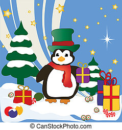 Christmas Penguin - Christmas penguin with presents in the...