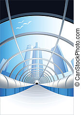 Path to future - Modern glass enter tunnel in blue