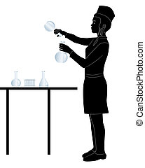 laboratory assistant - black silhouette of a laboratory...