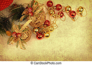 Christmas gift on Vintage christmas background