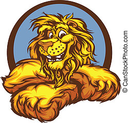 Graphic Vector Image of a Happy Cut - Lion with Paws Smiling...
