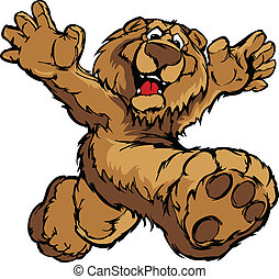Graphic Vector Image of a Happy Run - Smiling Bear Running...
