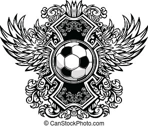 Soccer Ball Ornate Graphic Vector T - Soccer Ball with...