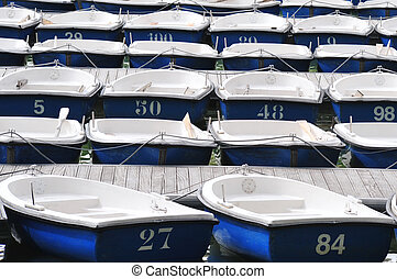 Pleasure Row Boats Docked on Lake - Many Blue White dinghy...