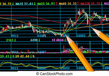 Analysis colorful stock chart on monitor finance concept
