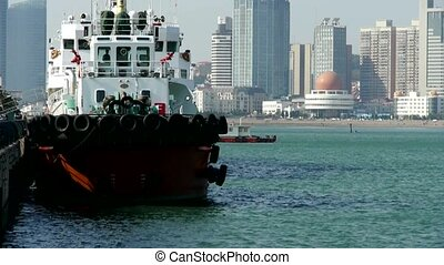 Vessel Parking on water at Pier of QingDao city Olympic...