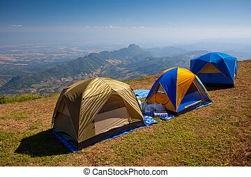 Tourist tent in mountain