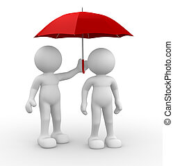 Umbrella - 3d people - human character, person under an...