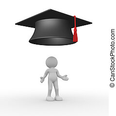 Graduation - 3d people - human character - person with...