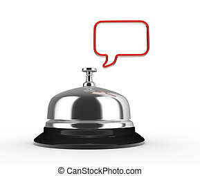 Bell - Close up of a silver bell and empty bubble. 3d render...