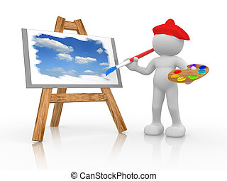 Painter - 3d people - human character - painting the sky on...