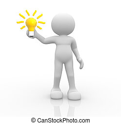 Light bulb - 3d people- human character with a light bulb -...
