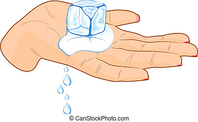 Ice cube in a hand. - Female hand with ice cube. Vector...
