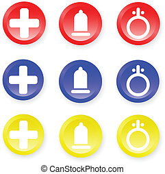 Icons. [Vector] - Nine colored icons. Vector illustration.