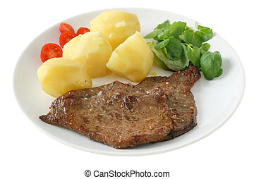 fried beef with boiled potato and salad
