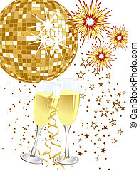 Party poster - Vector illustration of two glasses with...