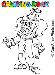 Coloring book with happy clown 5 - vector illustration.