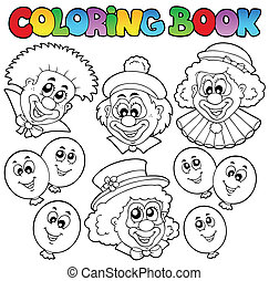Coloring book with funny clowns - vector illustration