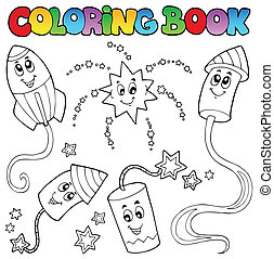 Coloring book fireworks theme 2 - vector illustration.