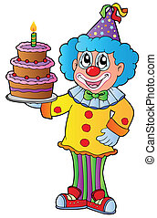 Cartoon clown with cake - vector illustration.