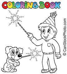 Coloring book boy with sparkler - vector illustration.