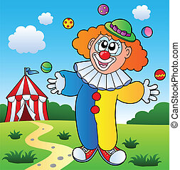 Clown theme picture 7 - vector illustration