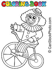Coloring book with happy clown 4 - vector illustration