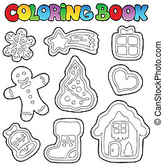 Coloring book gingerbread 1 - vector illustration.